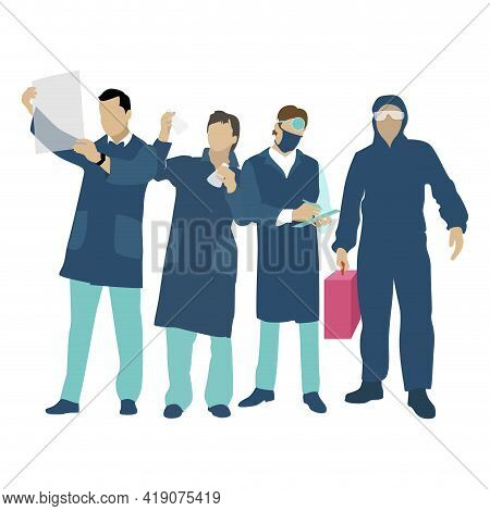 Medical Front Line, Doctors And Nurse, Scientist. Vector Emergency Care And Support Illustration. St