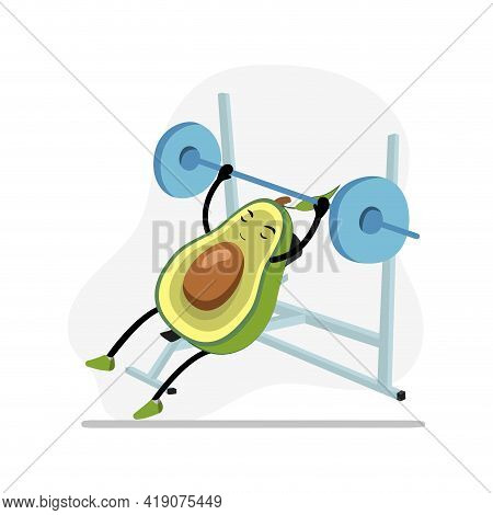 Avocado In Gym Bench Press, Character Cute Active, Funny Food, Nature Nutrition, Doing Sport And Fit