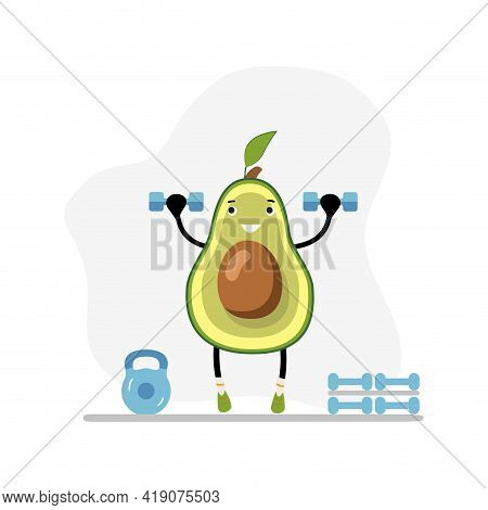 Fitness Avocado In Gym With Dumbbells. Vector Weightlifting Exercise, Organic And Natural Workout, V