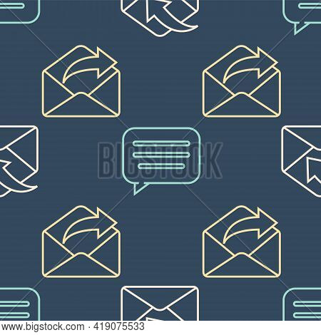 Set Line Envelope, Outgoing Mail And Speech Bubble Chat On Seamless Pattern. Vector