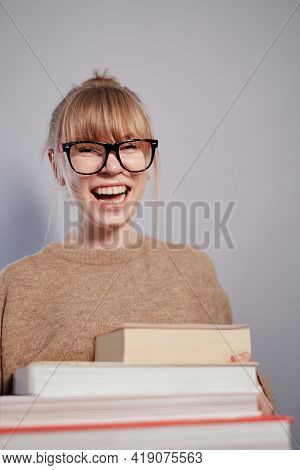 Attractive Laughing Positive Nerd, Attractive University Or College Blonde Student Girl Wearing Eyeg