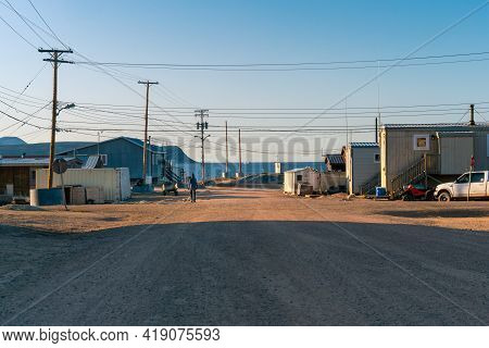 Golden Hour In Inuit Community Of Qikiqtarjuaq, Broughton Island, Nunavut, Canada. Settlement In The