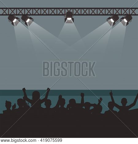 Empty Stage With Fans And Spectates, Concert Festival Or Musical Event. Show Stage Club, Illuminated