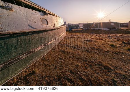 An Old Wooden Boat In Inuit Community Of Qikiqtarjuaq, Broughton Island, Nunavut, Canada. Settlement
