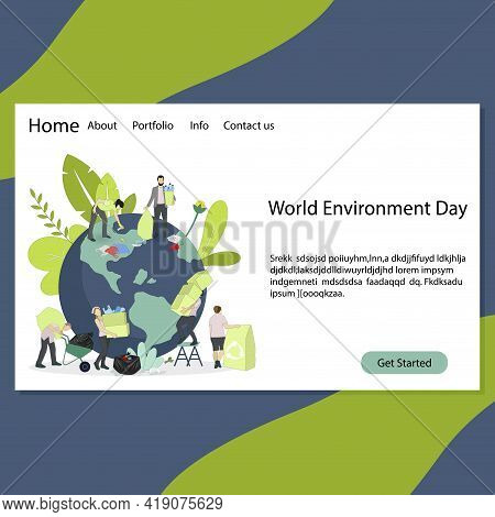 World Environment Day Landing Page, Environment Day 2021 Theme. Vector Environment Day Poster. Inter