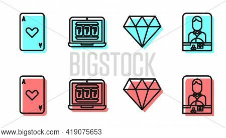 Set Line Diamond, Playing Card With Heart, Laptop And Slot Machine And Casino Dealer Icon. Vector