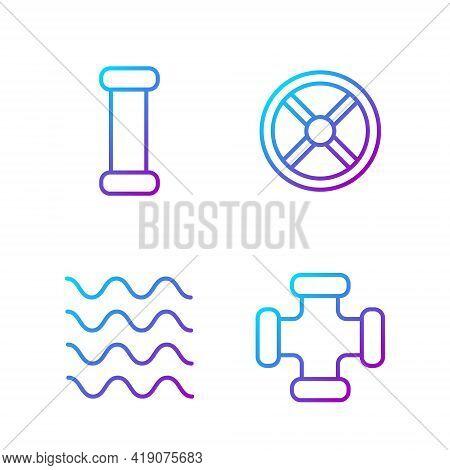 Set Line Industry Metallic Pipe, Wave, Industry Metallic Pipe And Industry Valve. Gradient Color Ico