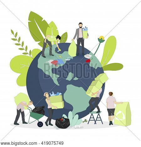 Environment Day, Collect Garbage From Planet, Protect Earth Theme, International Friendly Ecology, V