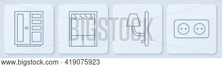 Set Line Wardrobe, Wall Sconce, Wardrobe And Electrical Outlet. White Square Button. Vector