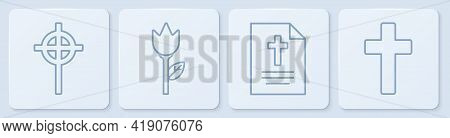 Set Line Christian Cross, Greeting Card With Happy Easter, Flower Tulip And Christian Cross. White S