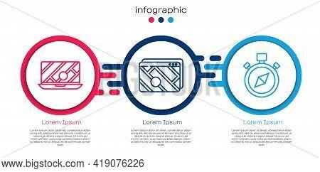 Set Line City Map Navigation, Infographic Of City Map Navigation And Compass. Business Infographic T