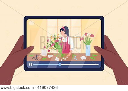 Hands Hold Tablet With Video On Flower Arrangement Flat Color Vector Illustration. Online Tutorial T