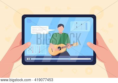 Hands Hold Tablet With Video On Guitar Tutorial Flat Color Vector Illustration. Learning How To Play