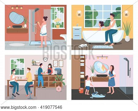 Daily Routine Flat Color Vector Illustration Set. Cleaning Apartment. Taking Bath. Family And Friend