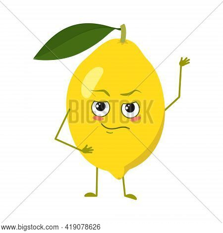 Cute Lemon Characters With Emotions, Face, Arms And Legs. Spring Or Summer Decoration. The Funny Or