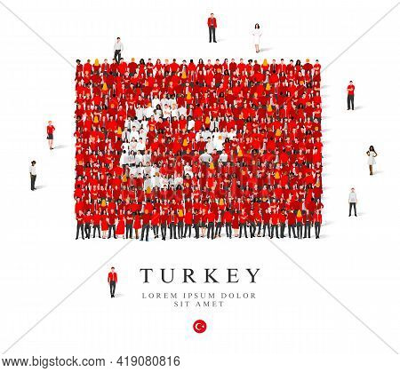 A Large Group Of People Are Standing In White And Red Robes, Symbolizing The Flag Of Turkey. Vector