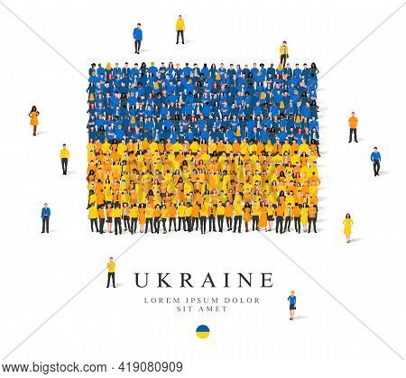 A Large Group Of People Are Standing In Blue And Yellow Robes, Symbolizing The Flag Of Ukraine. Vect