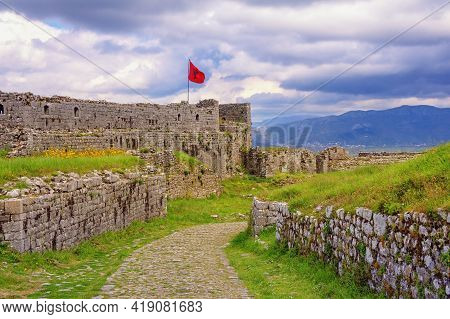 Ancient Fortifications. Albania, Shkoder City. View Of Ruins Of Old Fortress Rozafa Castle