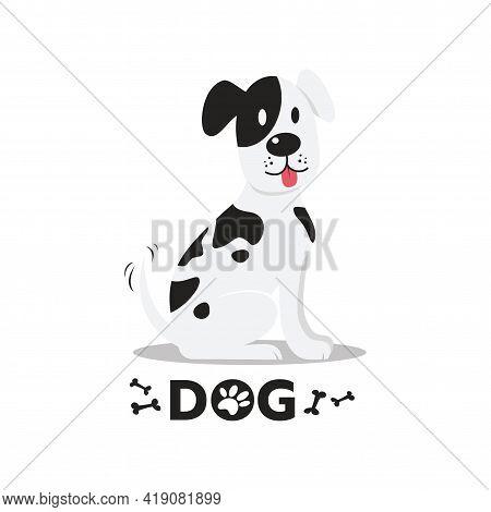 Happy Cartoon Dog. Black Dot Dog On White Background Flat Vector Illustration.