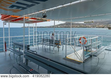 Ferry On Board, Antiparos, Cyclades Archipelago, Greece - 28 September 2020: Ferry Crossing To The I