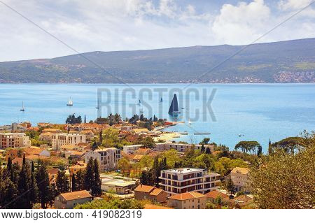 Beautiful  Mediterranean Landscape  On Sunny Spring Day.  Montenegro, Adriatic Sea, View Of Bay Of K