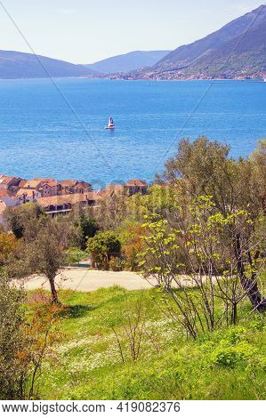 Beautiful  Mediterranean Landscape On Sunny Spring Day.  Montenegro, Adriatic Sea, View Of Bay Of Ko