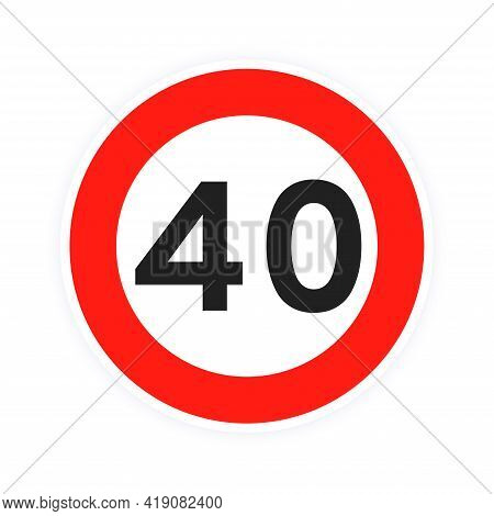 Speed Limit 40 Round Road Traffic Icon Sign Flat Style Design Vector Illustration Isolated On White