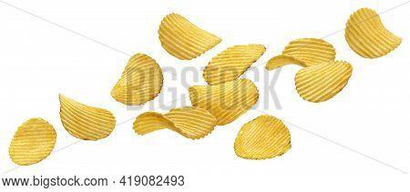 Falling Ridged Potato Chips Isolated On White Background