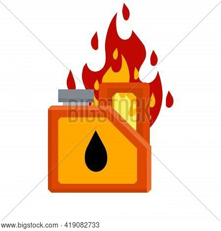 Canister With Fuel. Container With Oil. Flammable Object. Danger And Fire. Dangerous Flames. Flat Ca