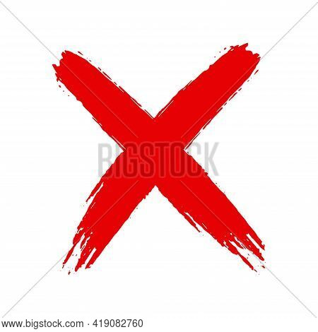 Grunge Hand Drawn Cross X With Brush Strokes Vector Illustration Isolated On White Background. Mark