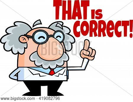 Funny Science Professor Cartoon Character Pointing. Raster Hand Drawn Illustration Isolated On Trans