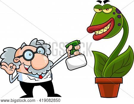 Science Professor Cartoon Character Spraying Evil Carnivorous Plant. Hand Drawn Illustration Isolate