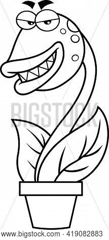 Outlined Evil Carnivorous Plant Cartoon Character. Hand Drawn Illustration Isolated On Transparent B
