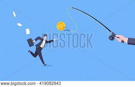 Fishing Money Chase Business Concept With Businessman Running After Dangling Dollar And Trying To Ca
