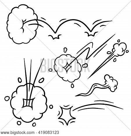 Effect Of Comic Speed. Bubble Cloud. Track And Trace. Cartoon Black And White Illustration. Set Of F