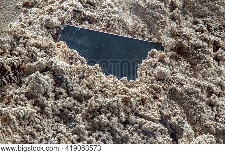 The Remains Of Mobile Phones With A Broken Screen That Are Garbage Containing Toxic Substances That
