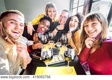 Friends Taking Selfie At Winery With Open Face Mask - People Having Fun Together Drinking Red Wine G