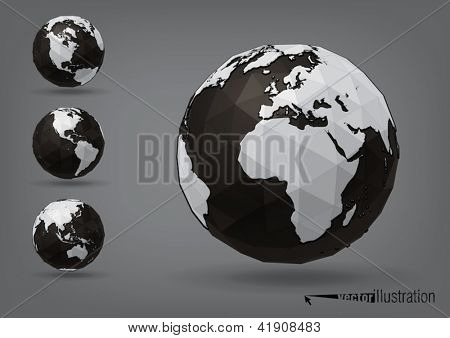 Earth globe as polyhedron