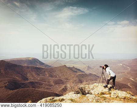 Side View Young Brunette Caucasian Woman Travel Photographer Shooting Landscape Photo Outdoor. New M