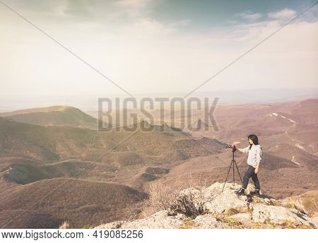 Aerial View Attractive Caucasian Woman Photographing Mountains With Dslr Enjoy Photography. Content