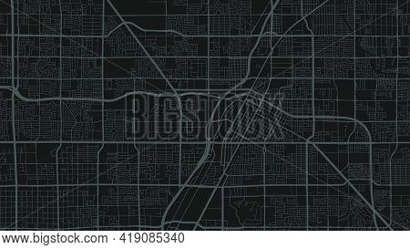 Dark Grey And Black Las Vegas City Area Vector Background Map, Streets And Water Cartography Illustr