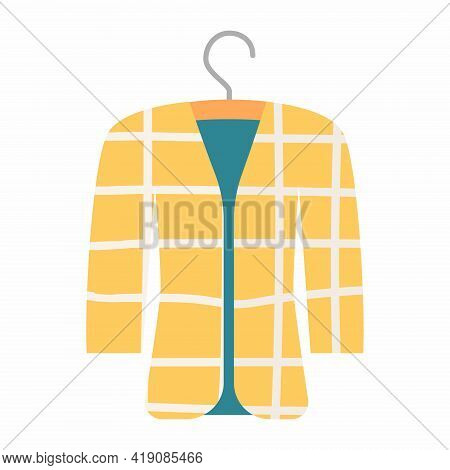 Trendy Yellow Blazer With Cage Pattern. Fashionable Cotton Elegant Jacket. Women Suit Jacket Vector