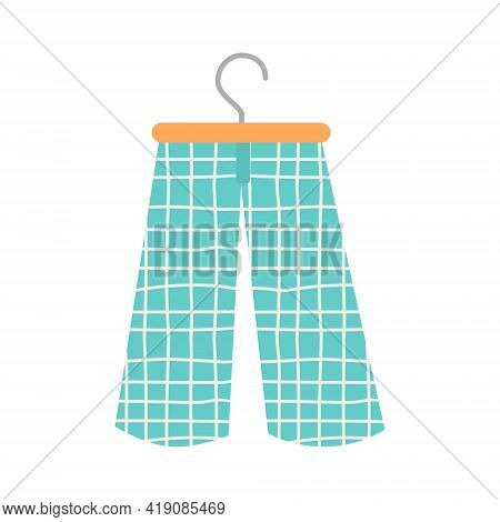 Trendy Blue Culottes With Cage Pattern. Fashionable Cotton Elegant Pants. Women Trousers Vector Flat