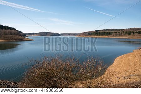 Panoramic Image Of Dhunn Water Reservoir, Bergisches Land, Germany