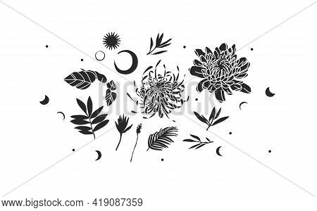 Hand Drawn Vector Abstract Stock Flat Graphic Illustrations Mystic Icons Collection Set With Logo El