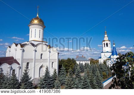 Trinity Cathedral & Bell Tower Of Zilantov Monastery, Kazan, Russia. All The Complex Is Built In Tra