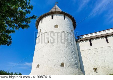 Close View Onto Southeast Round Tower Of Kazan Kremlin. As Most Of Buildings It Was Built In Medieva