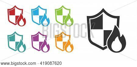 Black Fire Protection Shield Icon Isolated On White Background. Insurance Concept. Security, Safety,