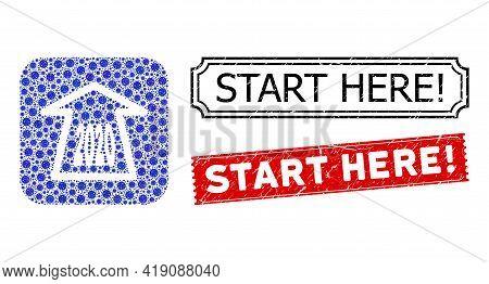 Vector Mosaic 2020 Ahead Arrow And Grunge Start Here Exclamation Seals. Mosaic 2020 Ahead Arrow Crea