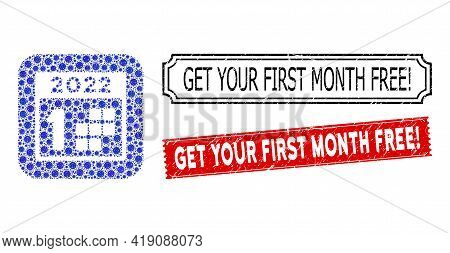 Vector Mosaic 2022 First Day And Grunge Get Your First Month Free Exclamation Seals. Mosaic 2022 Fir